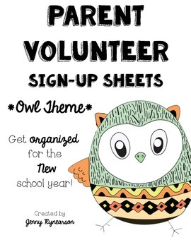 Parent Volunteer Forms! ~OWL Theme~ Great for Beginning of