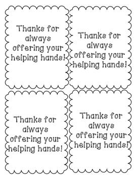 Parent Volunteer Helping Hands Gift Tag Freebie Printable!