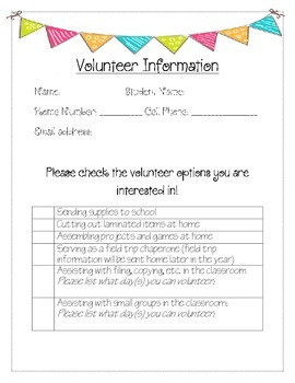 Parent Volunteer Information Sheet