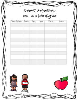 Parent Volunteer Information Template (Editable)