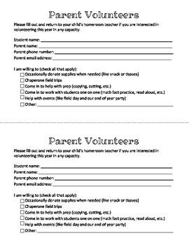 Parent Volunteer Interest Survey