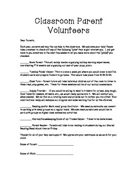 Parent Volunteer Inventory for Beginning of the Year