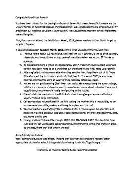 Parent Volunteer Letter