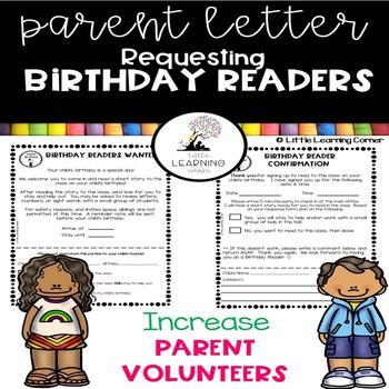 Parent Volunteer Letter ~ Birthday Readers ~