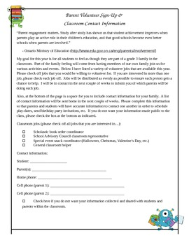 Parent Volunteer Letter and Contact Request Form