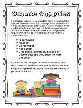 Parent Volunteer Opportunities Freebie