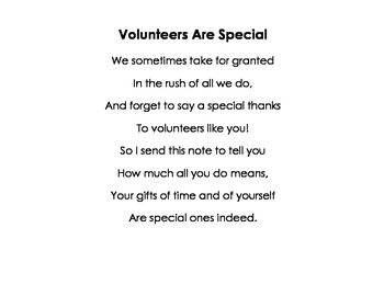 Parent Volunteer Poem and Gift Tags