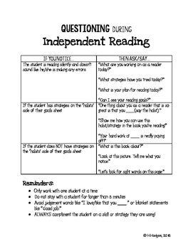 Parent Volunteer Questioning Guide for Independent Reading