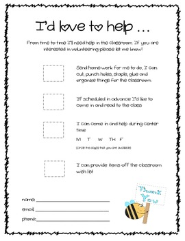 Parent Volunteer Sheet