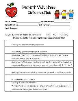Parent Volunteer Sheet