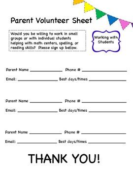 Parent Volunteer Sheet - Chalk and Brights