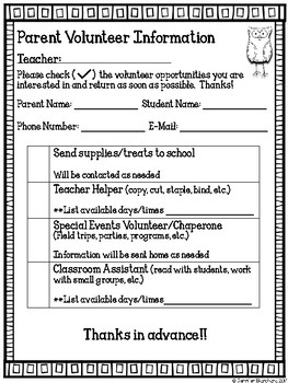 Parent Volunteer Sheet - Owl