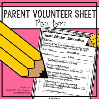 Parent Volunteer Sheet - Pencil Theme