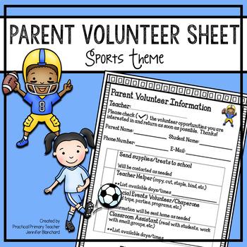 Parent Volunteer Sheet - Sports Theme