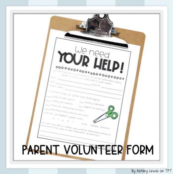 Parent Volunteer Sheet for Back to School Night
