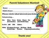 Open House- Parent Volunteer Sign Up