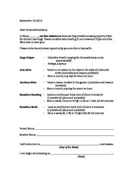 Parent Volunteer Sign Up Letter