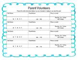 Parent Volunteer Sign Up Sheet, Open House