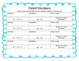 Parent Volunteer Sign Up Sheet, Open House