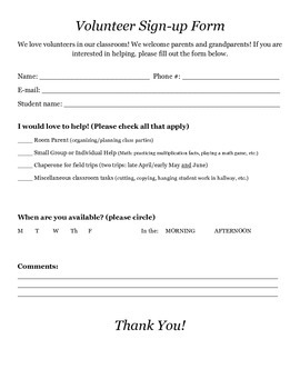 Parent Volunteer Sign-up Form