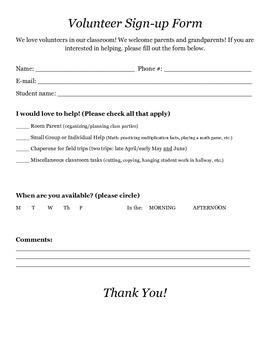 Parent Volunteer Sign-up Form