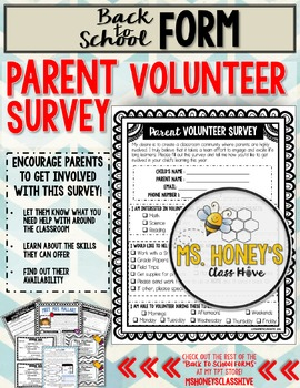 Parent Volunteer Survey (Back to School Form)