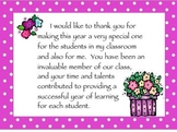 Parent Volunteer Thank You Cards for the End of Year
