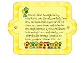 Parent Volunteer Thanks-any time of the year