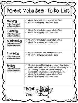 Parent Volunteer To-Do List