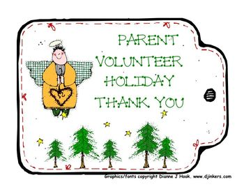 Parent Volunteer Winter ANGEL Thank You Tags