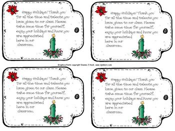 Parent Volunteer Winter Holiday Thank You Tags