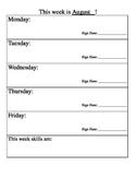 Parent Weekly Communication Sheet