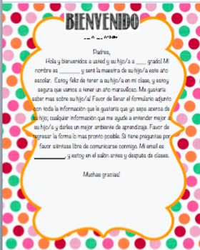 Parent Welcome Letter - Spanish