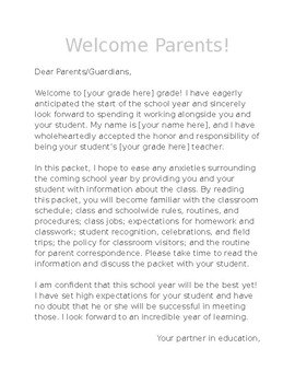 Parent Welcome Packet