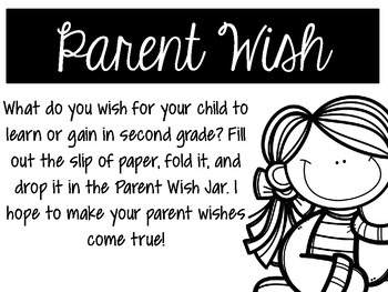 Parent Wish Jar Back To School Activity (Black and White Printer Friendly)