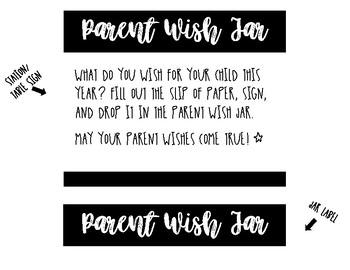 Parent Wish Jar for Meet the Teacher!