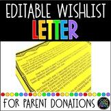 Parent Wishlist Letter | Amazon Wishlist Letter | Parent Donations Request