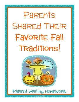 Parent Writing Homework {Fall Traditions}