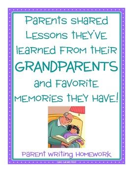 Parent Writing Homework {Grandparents Day}