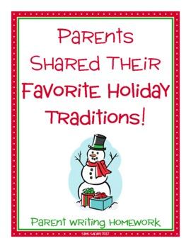 Parent Writing Homework {Holiday Traditions - Christmas, Chanukah, Kwanzaa}