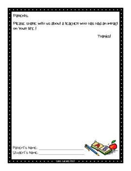 Parent Writing Homework {Teacher Appreciation Week}