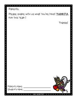 Parent Writing Homework {Thanksgiving}