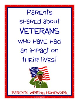 Parent Writing Homework {Veterans Day}