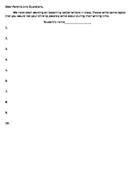 Writer's Workshop: Parent Writing List