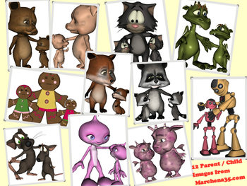 Parent and Child Monsters and Critter Clip Art - Great for Mother's Day!