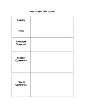 Parent and Home Communication Note #2