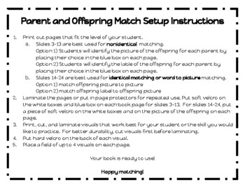 Parent and Offspring Match- An Interactive Book for Students With Autism