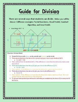 Parent and Student Guide with Strategies of Division-Includes Practice