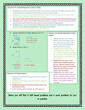 Parent and Student Guide with Strategies of Multiplication-Includes Practice