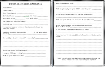Parent and Student Information Form